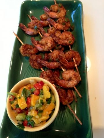Marinated Grilled Shrimp with Mango Salsa | http://www ...