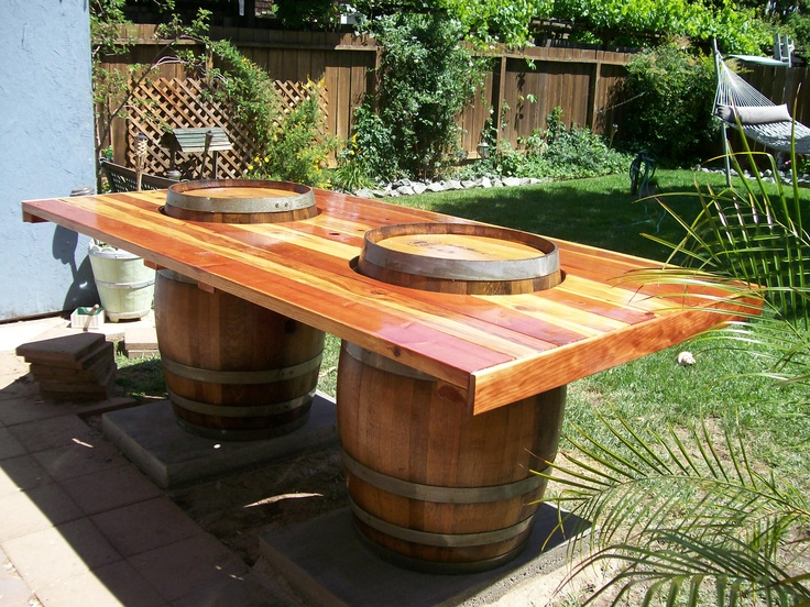 Wine Barrel Table, this would b perfect for a crawfish boil!