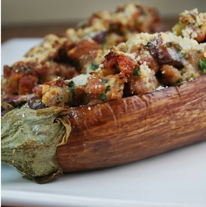 Sausage & Pepper stuffed Eggplant! Now we're talking!