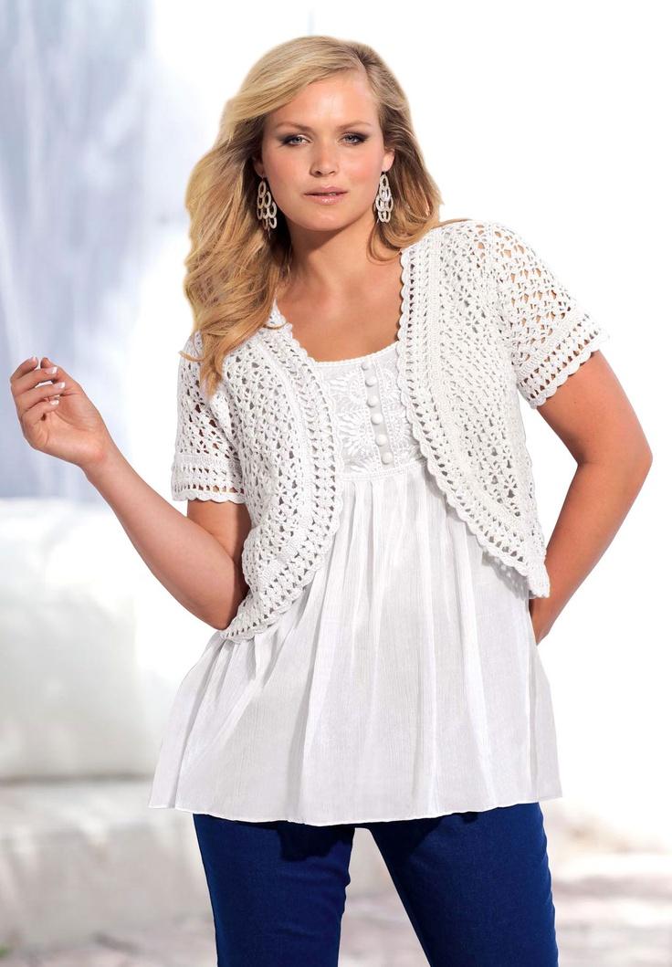 Plus Size Cropped crochet cardigan | Plus Size Cardigans | Roamans
