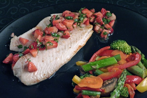 bass with refreshing tomato green olive salsa spicy pineapple salsa ...