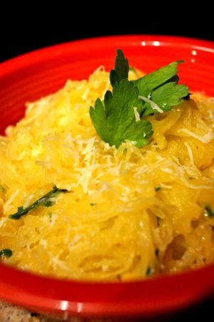 Baked Spaghetti Squash with Garlic and Butter | Recipes | Pinterest