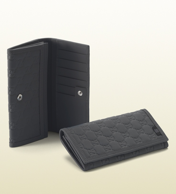 Gucci - long wallet in dark grey rubber guccissima leather