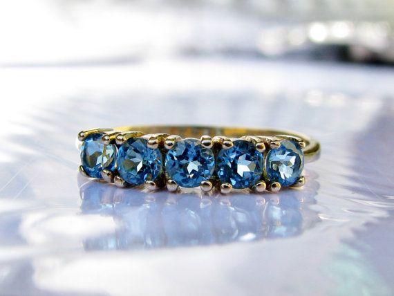 Vintage Blue Topaz Ring Wedding Band by LadyRoseVintageJewel, $350.00