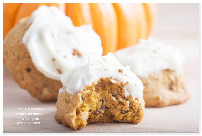 Iced Pumpkin Pecan Cookies recipe | TeenieCakes.com