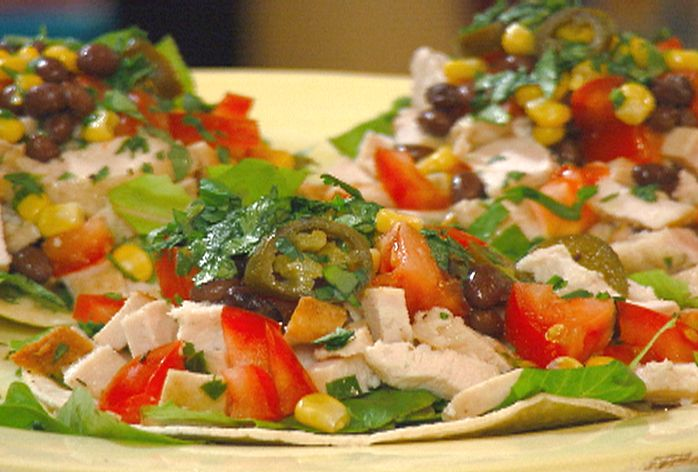 Chicken Tostada with Corn, Pickled Jalapenos and Black Beans from ...