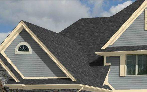 Blue House Black Roof Google Search Exterior Paint