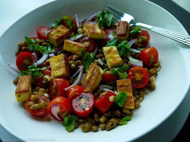 ... halloumi lentil amp tomato salad perhaps tofu instead of the halloumi