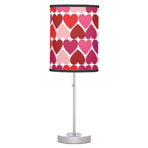 valentine hearts girls room decor table lamp cute bold vibrant hearts. Black Bedroom Furniture Sets. Home Design Ideas