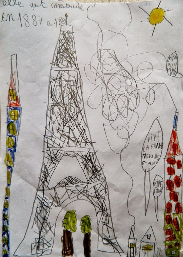 tour eiffel dessin d 39 enfant childrens drawings pinterest. Black Bedroom Furniture Sets. Home Design Ideas