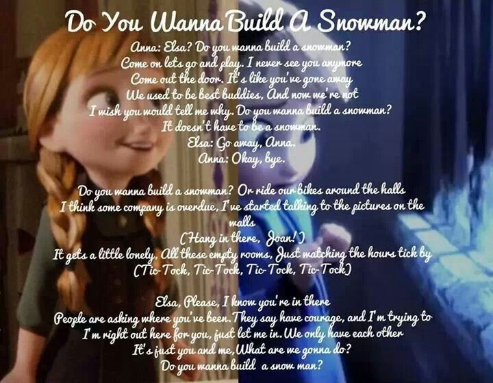 Do You Wanna Build a Snowman? | Song Lyrics | Pinterest