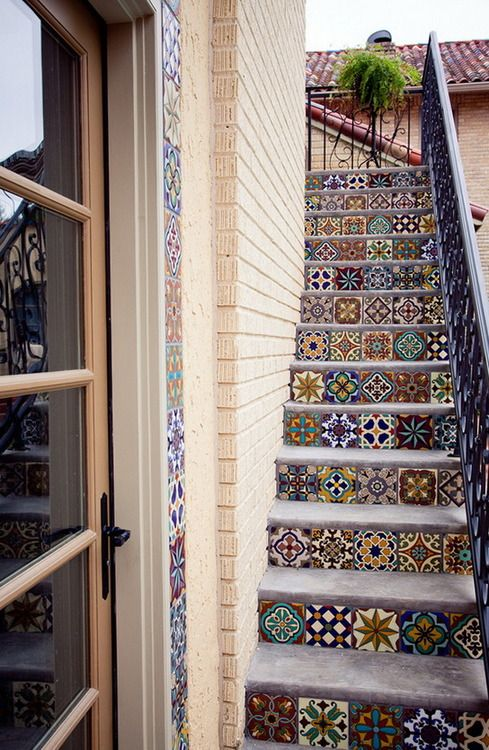 Tile stairs home decor pinterest - How to tile concrete stairs ...