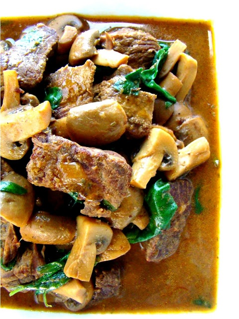 ... stewed beef raised waffles with beef and gremolata and mushroom stewed