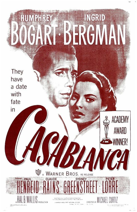 Poster print movie poster retro casablanca classic movie for Poster casablanca