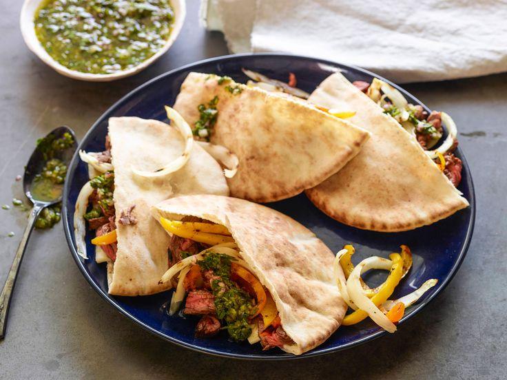 Skirt Steak Fajita Pita with Chimichurri Recipe : Jeff Mauro : Food ...