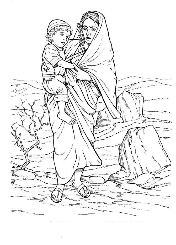 Baby Isaac Bible Coloring Page Coloring Pages Hagar And Ishmael Coloring Page