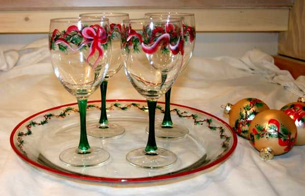 Pin by sarah sailor on painted glass pinterest for Holiday stemware