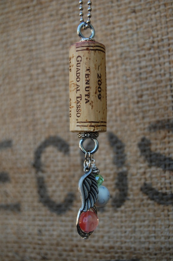 free shipping wine cork necklace repurposed wine cork