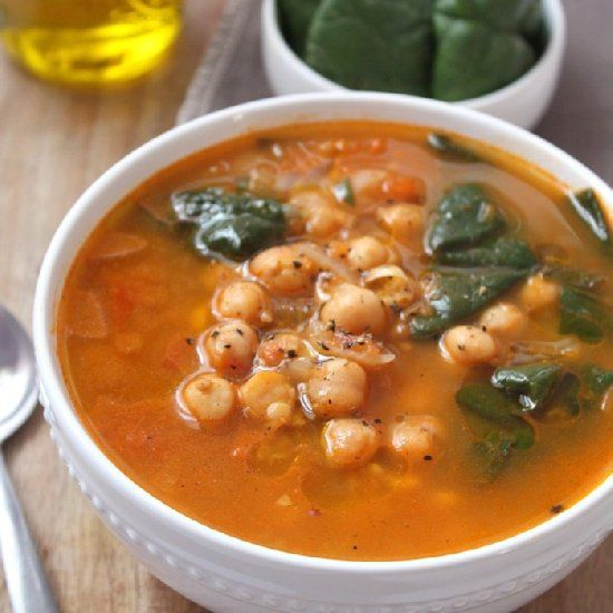 Moroccan Chickpea Soup, made with cinnamon & cumin to keep you extra ...