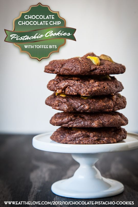 Chocolate Chocolate Chip Pistachio Cookies with Toffee Bits by Irvin ...