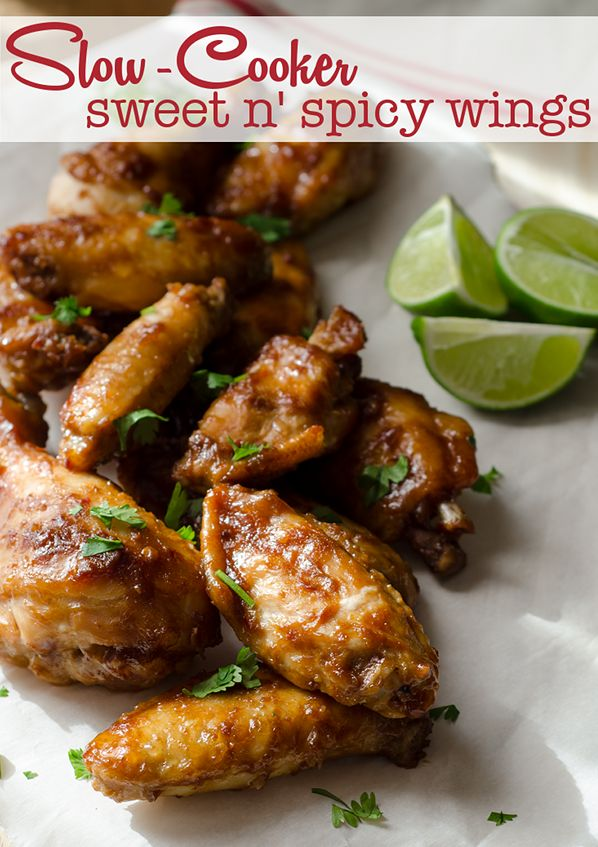So easy and perfect for football nomnoms!! Slow Cooker Sweet & Spicy Hot Wings perfect with Sutter Home Chardonnay