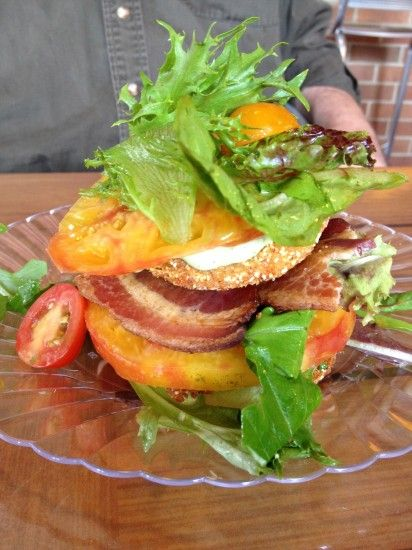 Fried green tomato stack at Darista Cafe | My Kitchen | Pinterest