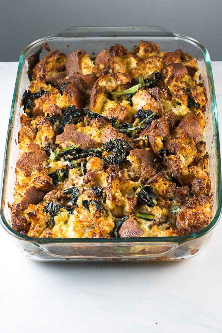 Kale and sausage strata, perfect as a stuffing substitute or next day ...