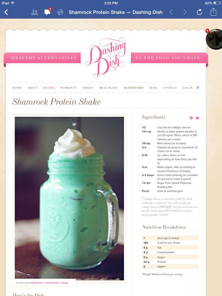 Shamrock Protein Shake | Shake me up before you go-go! | Pinterest