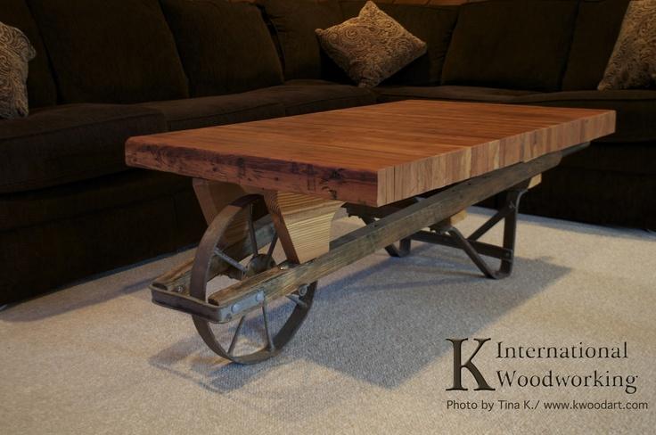 wheelbarrow bowling lane coffee table