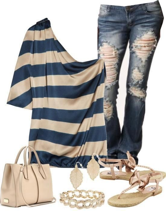 one shoulder blue stripes shirt,denim jeans,handbag,bracelet