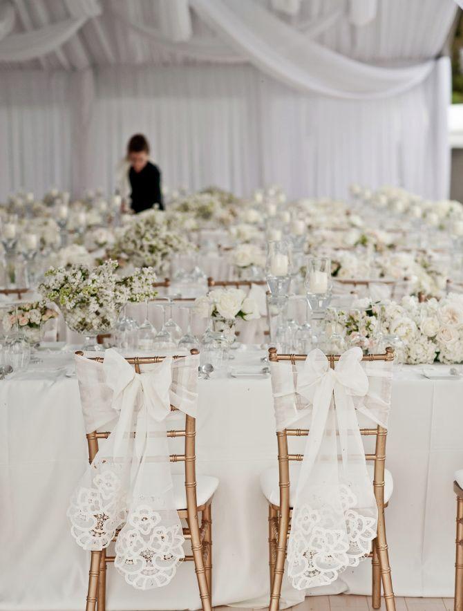 Wedding reception chair decorations wedding reception for Decorating chairs for wedding reception