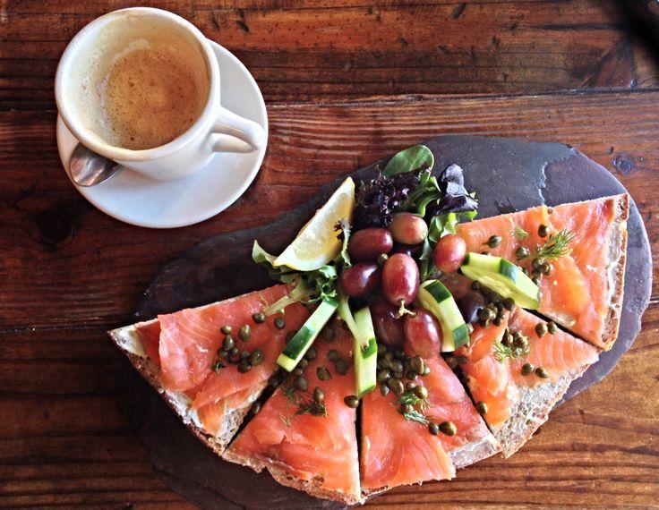 Blue Dahlia Bistro- smoked salmon & herbed cream cheese tartine with ...