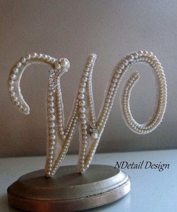 Wedding Cake Toppers Letter S : Wedding Cake Topper: Monogram Letter W in Ivory ...