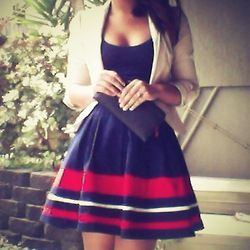 Chic Navy Blue Dress & Nude Blazer