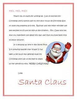 Santa Return Letter From List