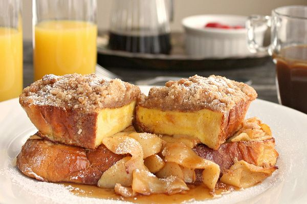 challah french toast - the sautéed apples are a nice touch.
