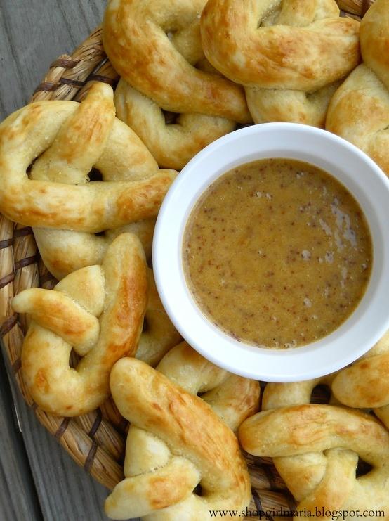 Homemade Soft Pretzels with a Sweet Honey Mustard Dipping Sauce.