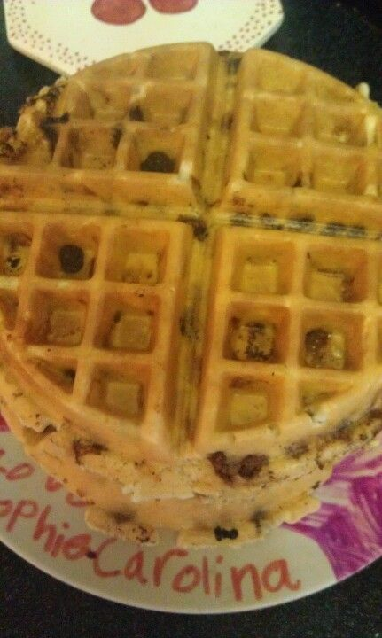 mores waffles! Bisquick, chocolate chips, graham cracker chunks and ...
