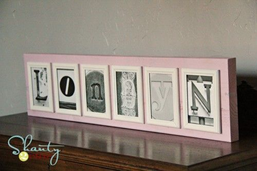 Sign made with frames put on a wood board with link to download letters! So cute!