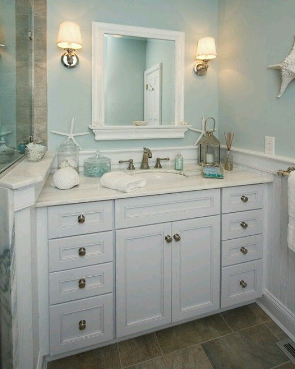 Beach bath beach cottage decorating ideas pinterest for Beach cottage bathroom ideas