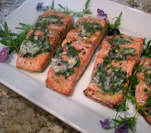 Grilled Salmon with Herb Blossom Butter | Cooking | Pinterest