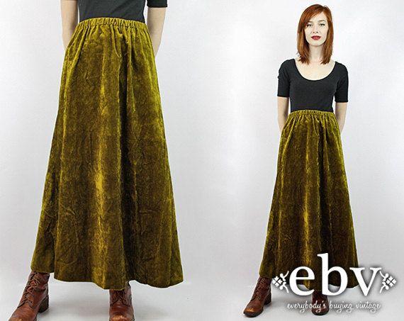 vintage 70s high waisted green velvet maxi skirt s m l