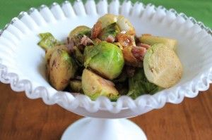 brussels sprouts with bacon, shallots and raisins| Frugal Foodie ...