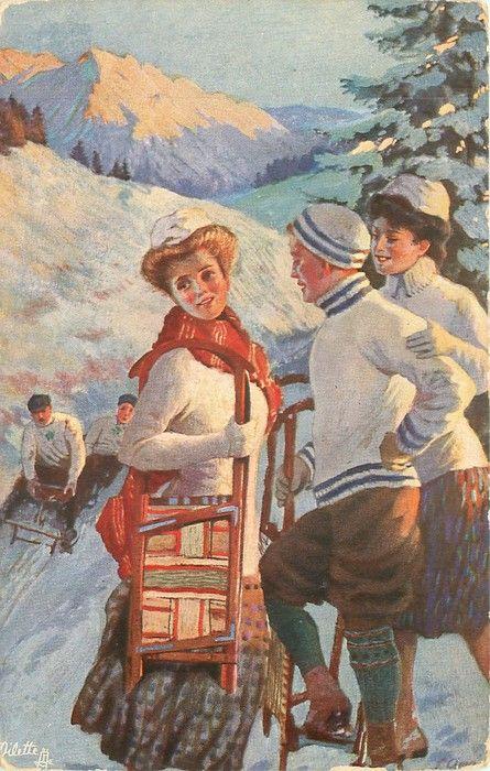 girl holds toboggan under her arm.
