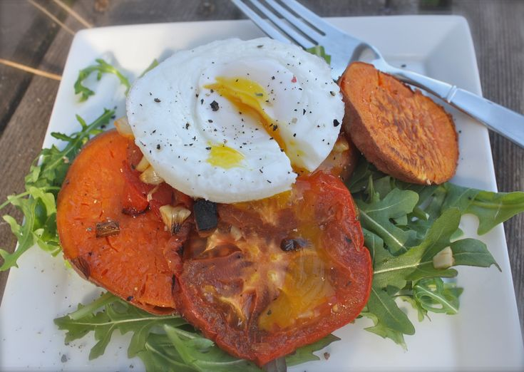 roasted garlic sweet potatoes and tomatoes with poached egg | Dishing ...