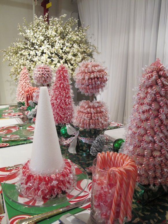 Table decor candy cane christmas magic pinterest