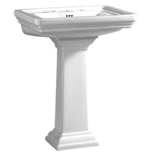 Mirabelle Pedestal Sinks : Key West Pedestal Bathroom Sink in White, by Mirabelle