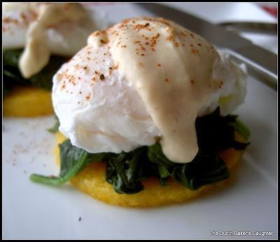 Eggs florentine on polenta with a skinny mustard hollandaise. yum ...