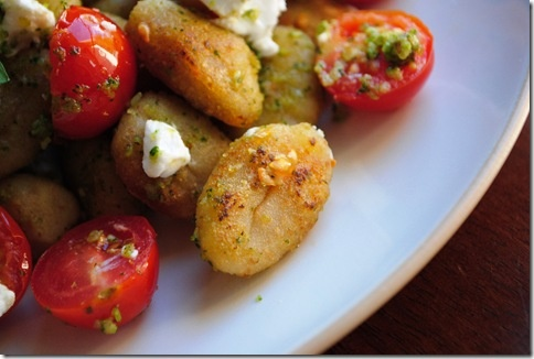 Crispy Pesto Gnocchi with Tomatoes and Goat Cheese