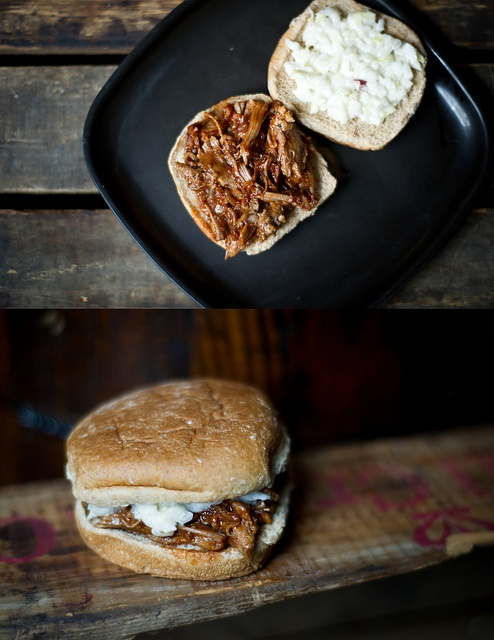 Pulled Pork Sandwiches With Apricot Bourbon Barbecue Saue And Coleslaw ...